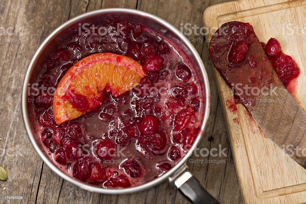 Making Cranberry Relish stock photo