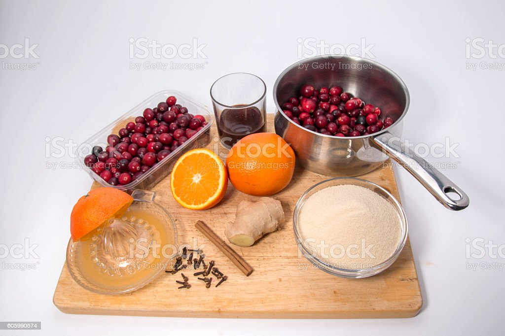 Making cranberry relish/sauce, ingredient for making the relish stock photo