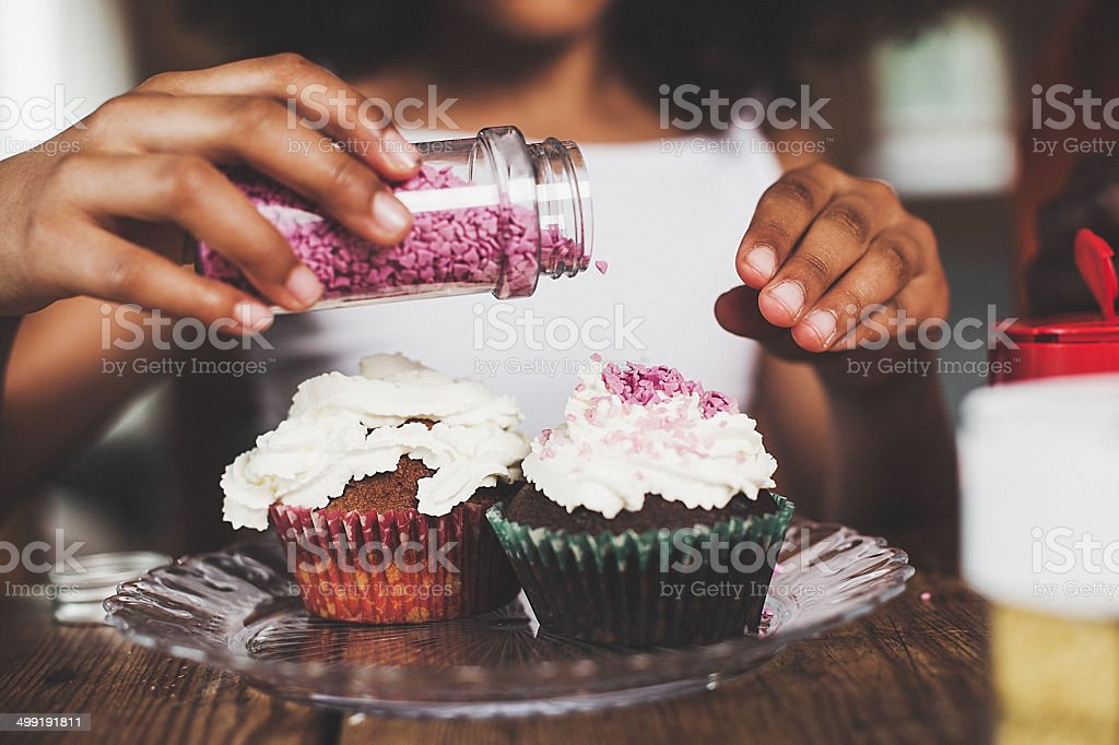 Making cup cakes royalty-free stock photo