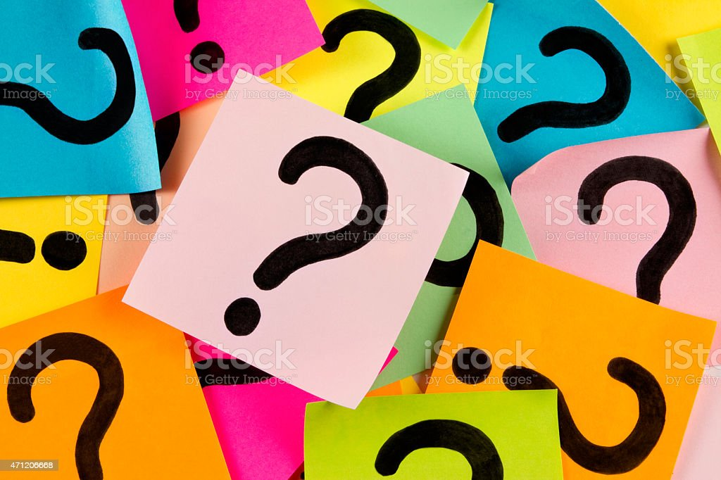 Making Decision Concept with Question Mark on Colorful Adhesive Notes stock photo