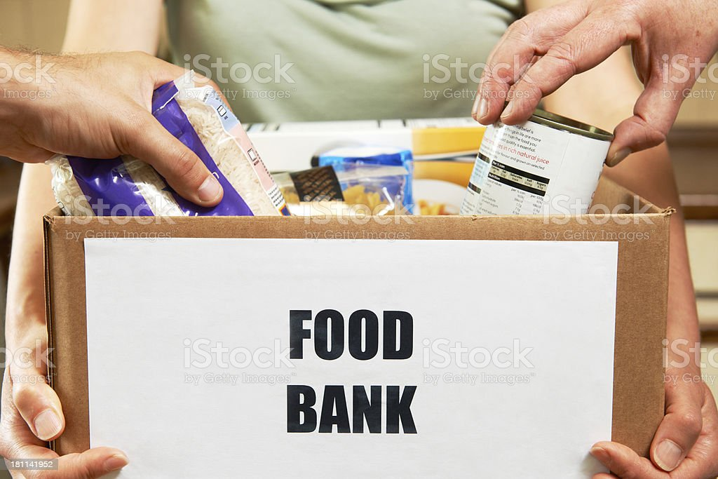 Making Donations To Food Bank stock photo