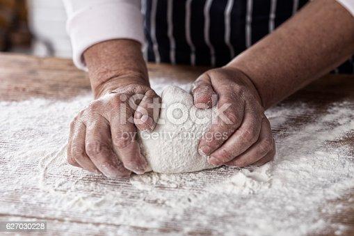 Kneading yeast dough.