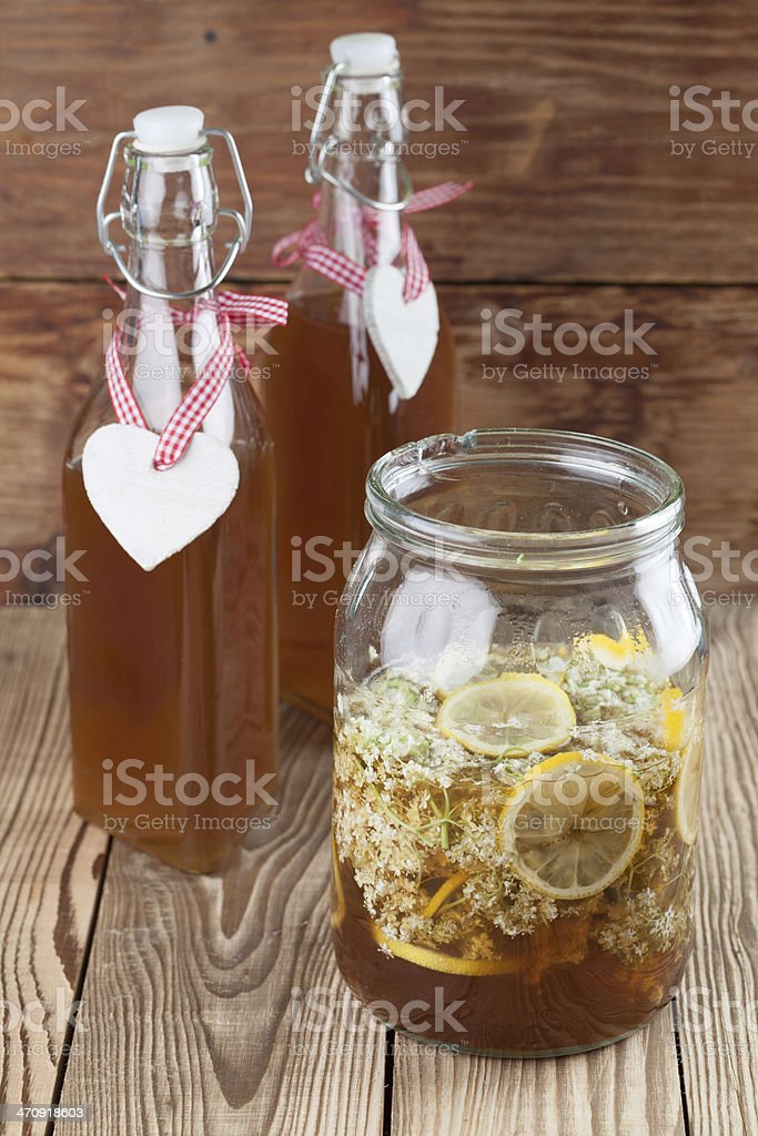 Making elderberry syrup royalty-free stock photo