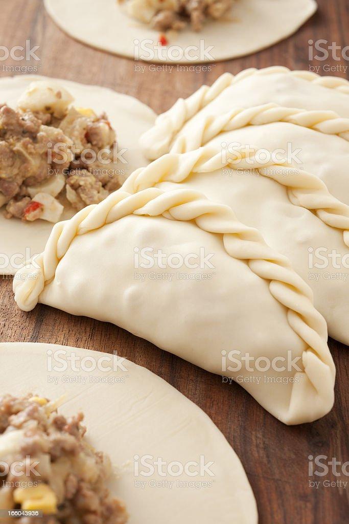 Making empanadas royalty-free stock photo