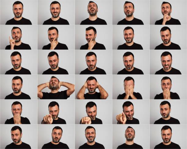얼굴 표정 만들기 - 시리즈 일부 뉴스 사진 이미지