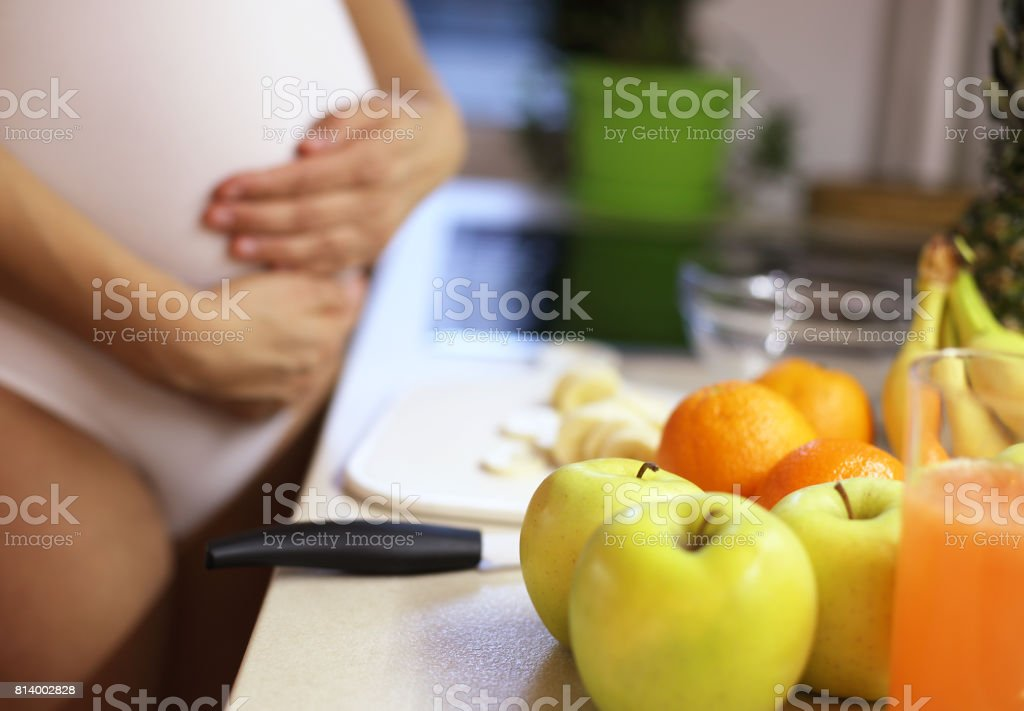 Making fresh drink-Pregnancy and nutrition stock photo
