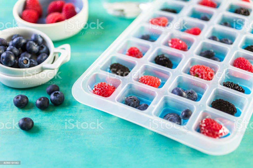 Making fresh fruit ice cubes stock photo