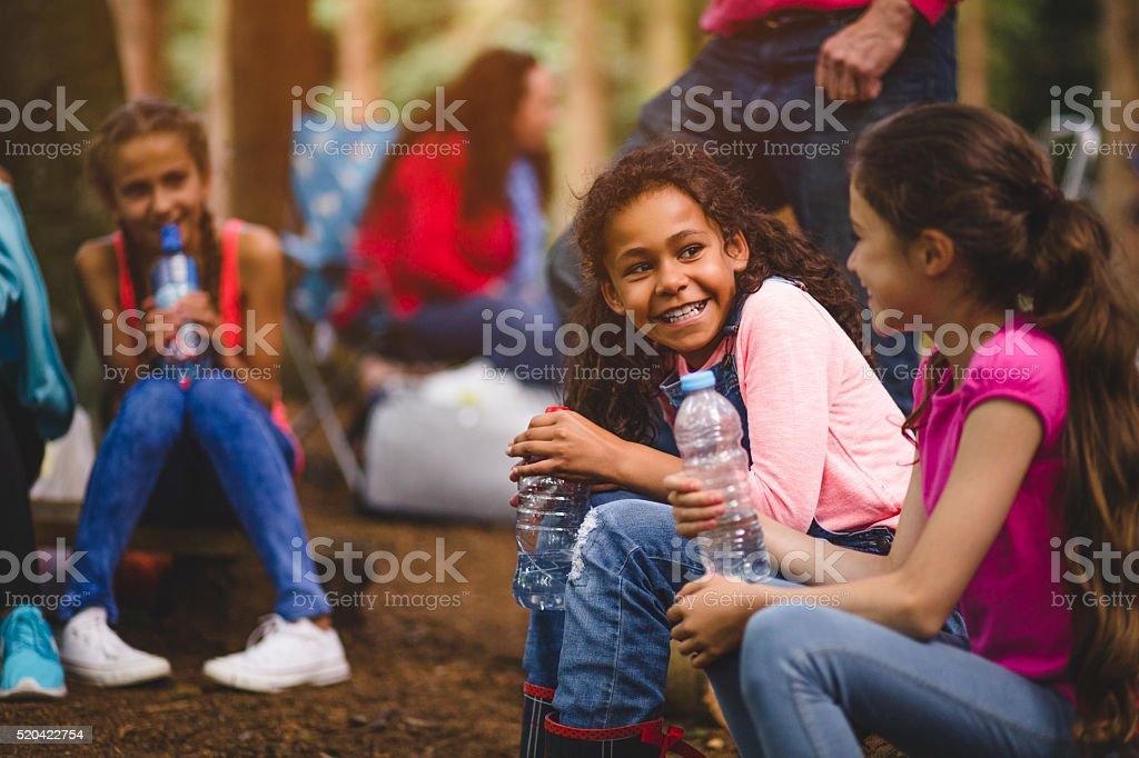 Making Friends on a Field Trip stock photo