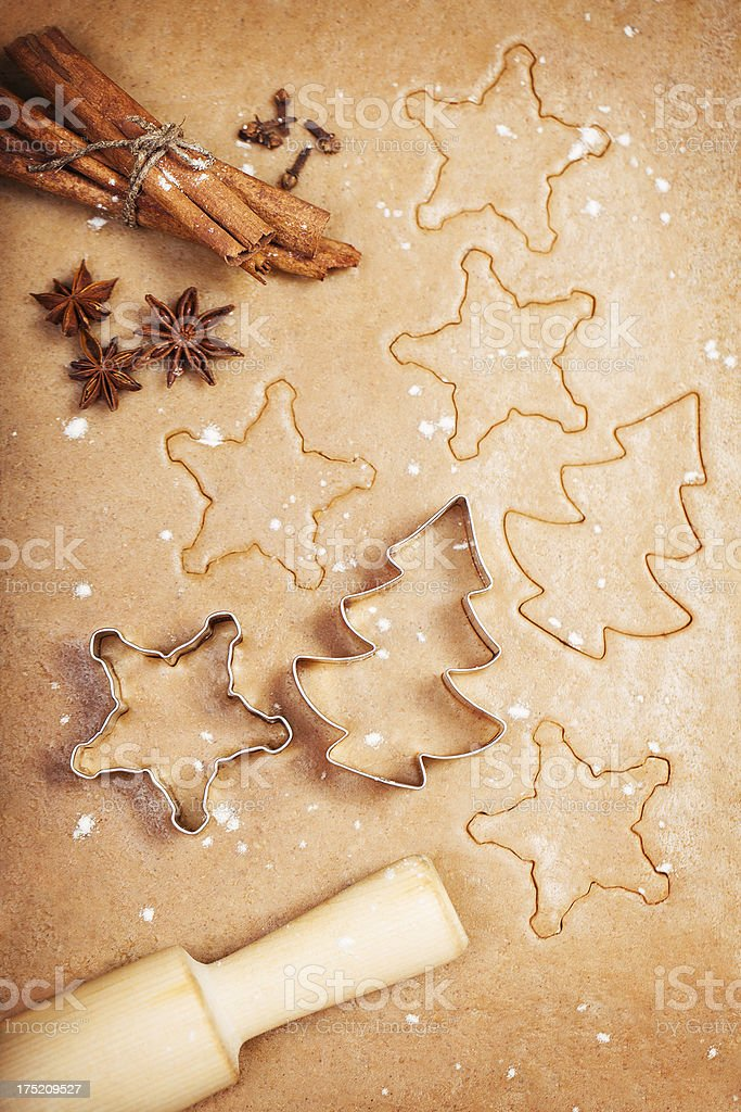 Making gingerbread cookies royalty-free stock photo