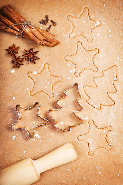 Making gingerbread cookies stock photo