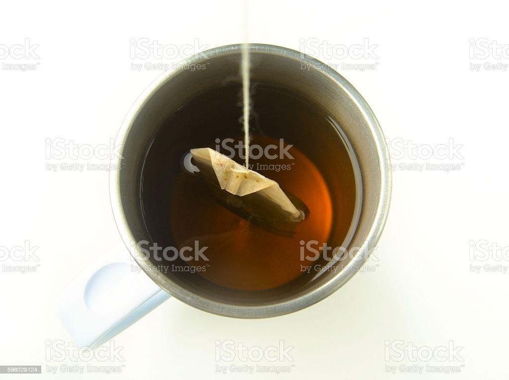 Making green tea with a tea bag foto royalty-free
