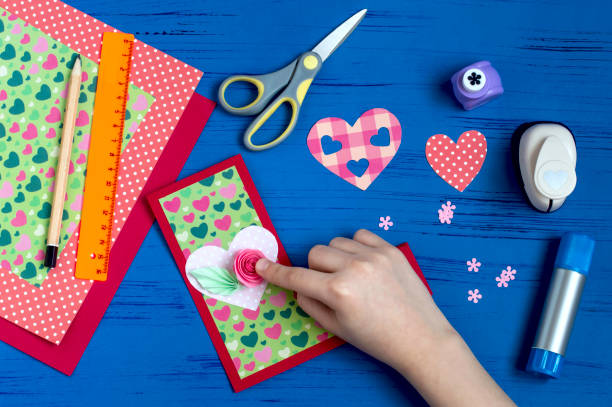 Making greeting card for Valentine's Day. Step 11 stock photo