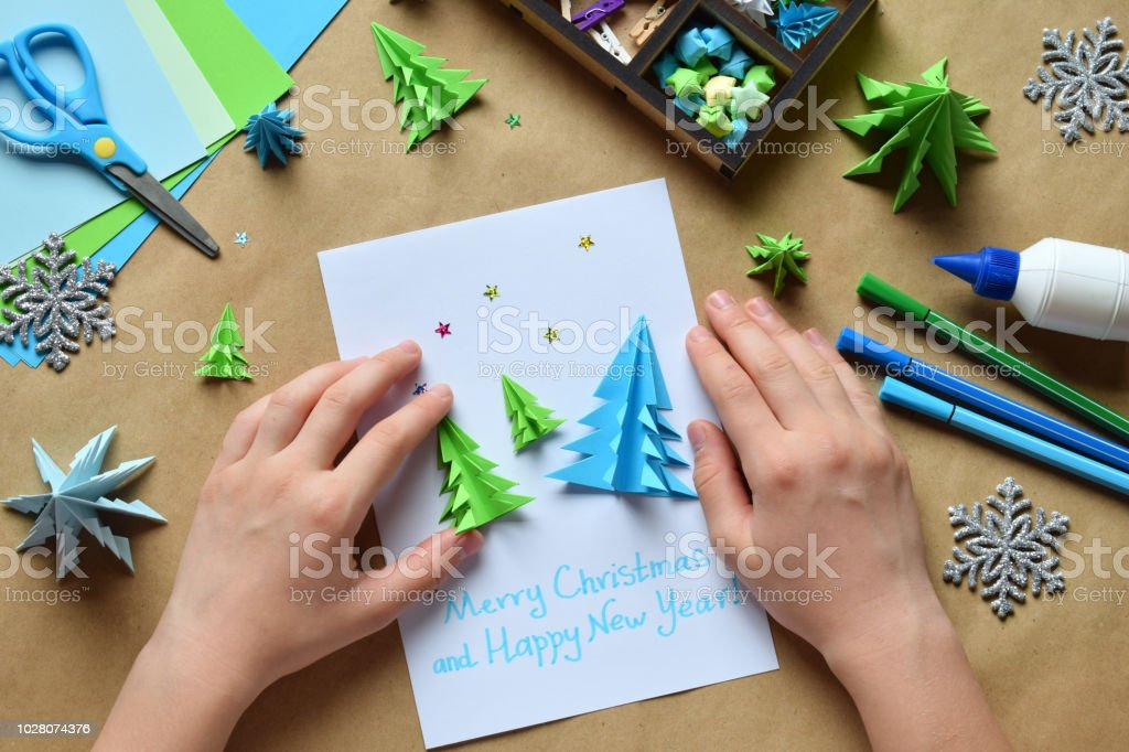 Making Greeting Card With Origami 3d Xmas Tree From Paper