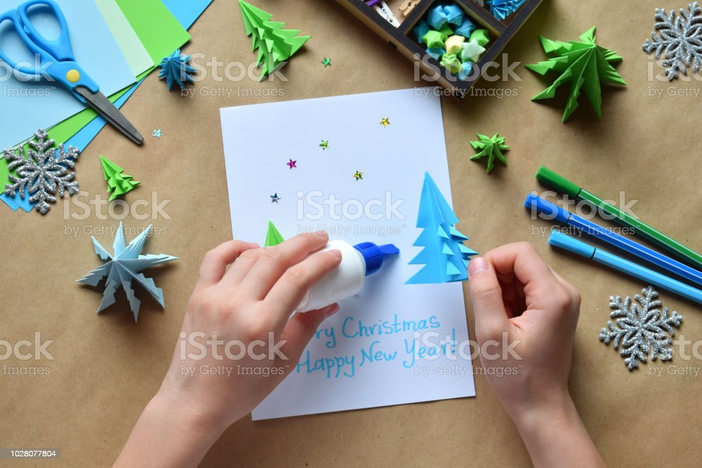 Making greeting card with origami 3d xmas tree from paper merry making greeting card with origami 3d xmas tree from paper merry christmas and happy new m4hsunfo