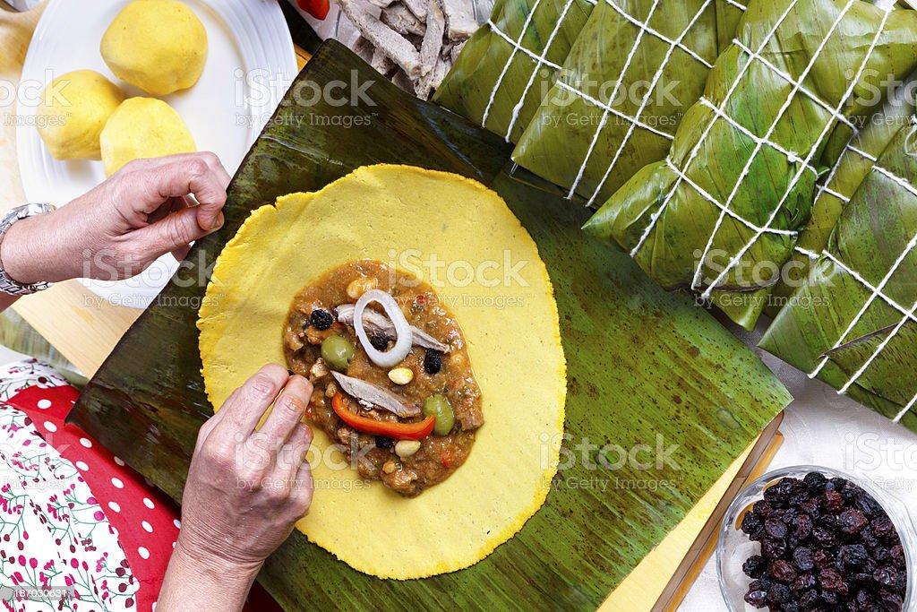 Making Hallacas - Venezuelan Christmas traditional food stock photo