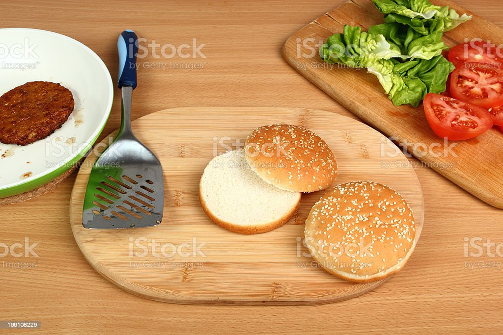 Making Hamburger. Series. 1/13. stock photo