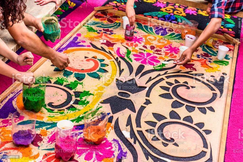 Making Holy Week carpet, Antigua, Guatemala stock photo