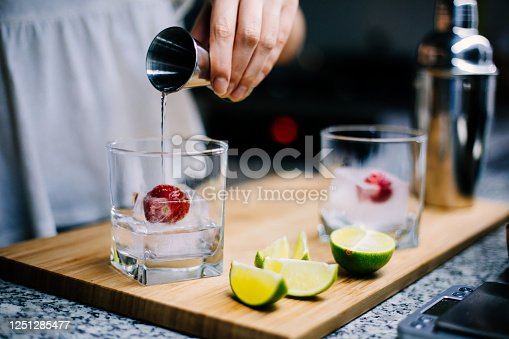 Making home made gin and tonic