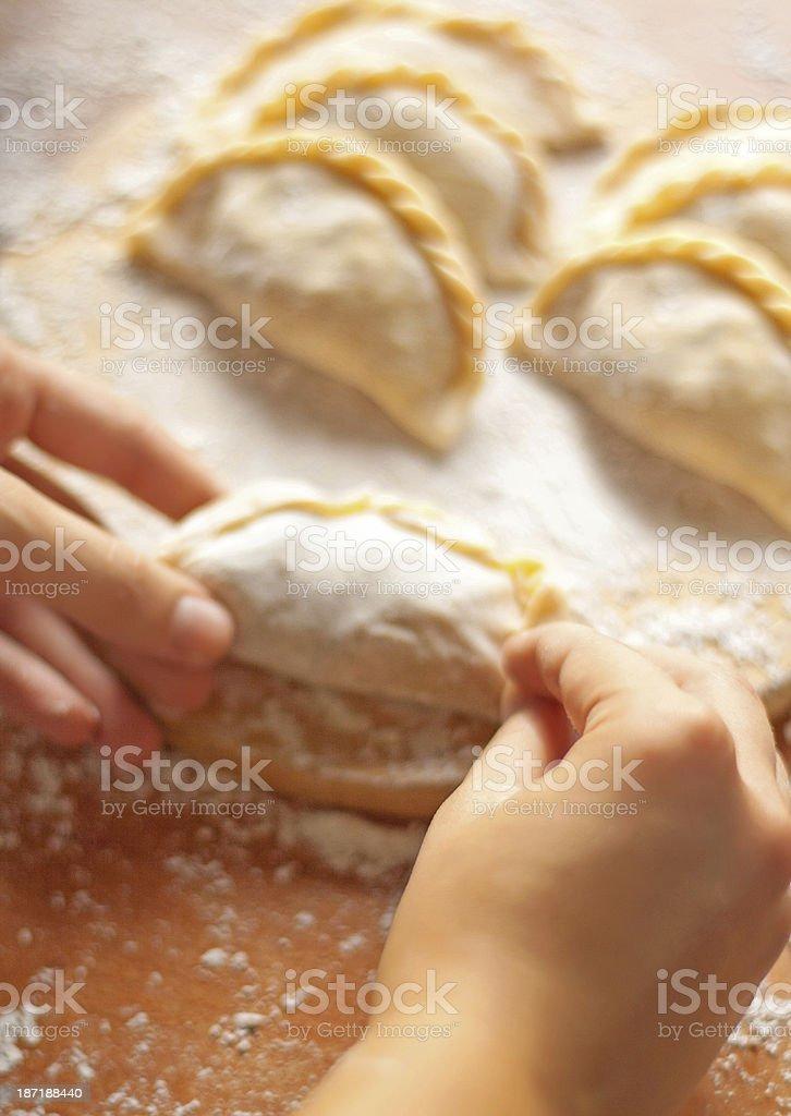 Making homemade dumplings royalty-free stock photo