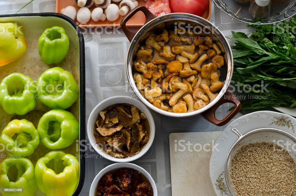 Making homemade food on the table stock photo