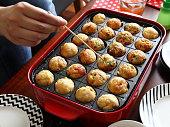 Making Homemade Japanese Traditional food - TAKOYAKI (octopus dumplings)