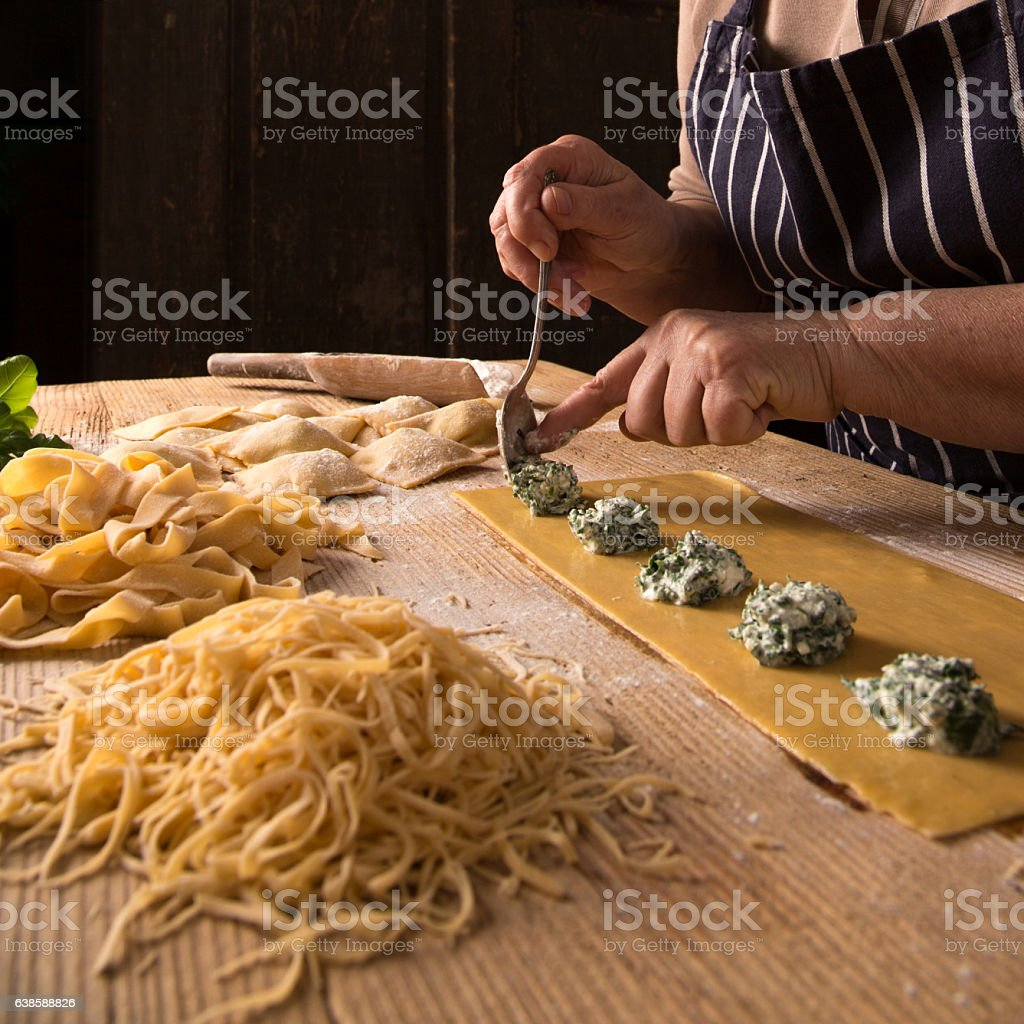 Making Homemade Pasta stock photo