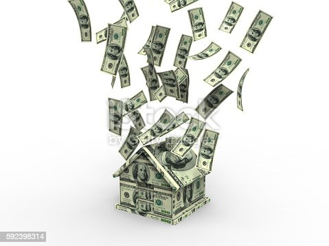 istock Making House With Hundred Dollars 592398314