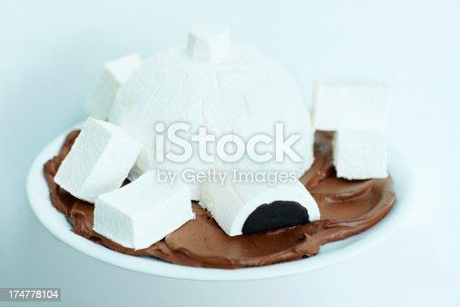 Igloo-themed ice cream cake isolated on white