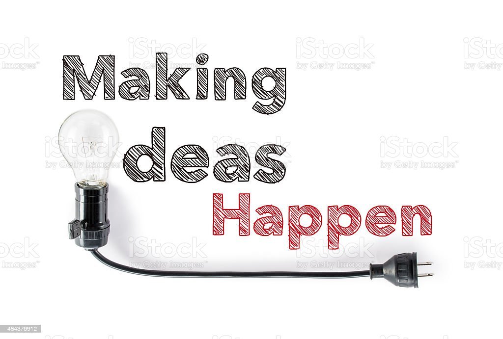 making ideas happen phrase and light bulb, hand writing, action stock photo
