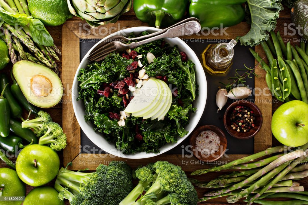 Making kale salad stock photo