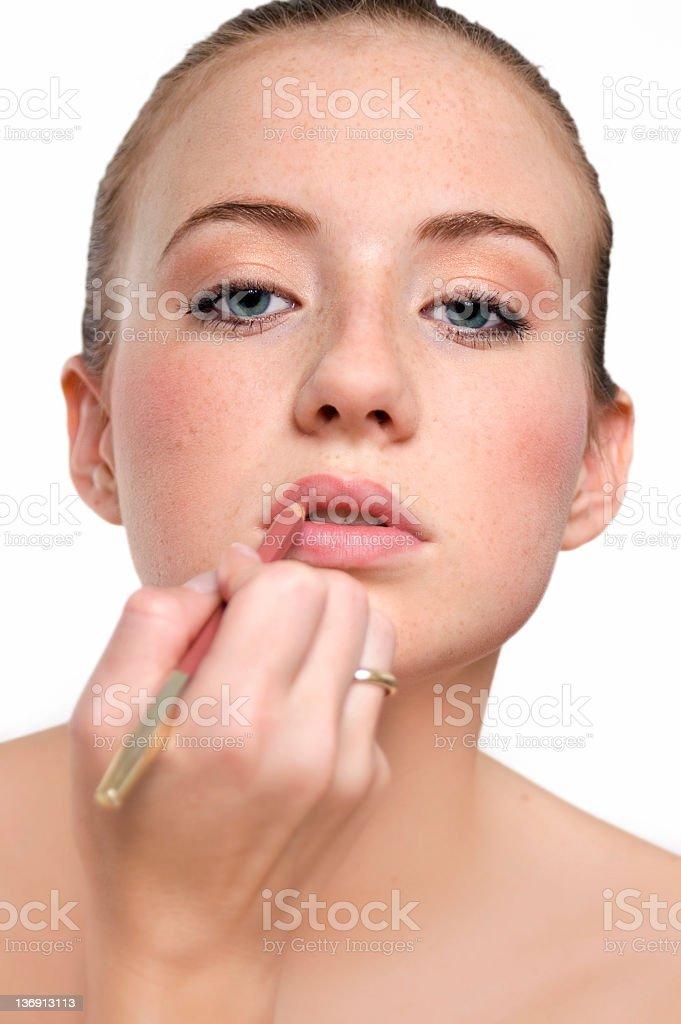 Making Lips stock photo