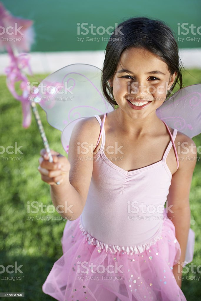 Making magic with her imagination stock photo
