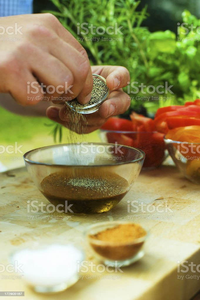Making marinade / dressing stock photo