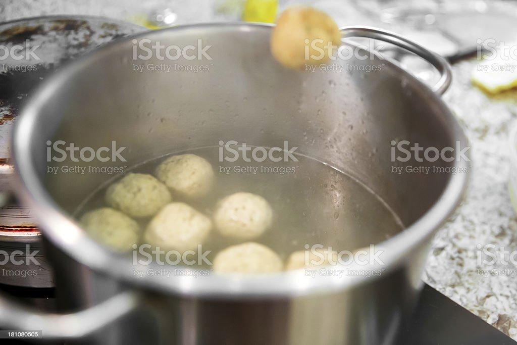 Making matzoh balls royalty-free stock photo