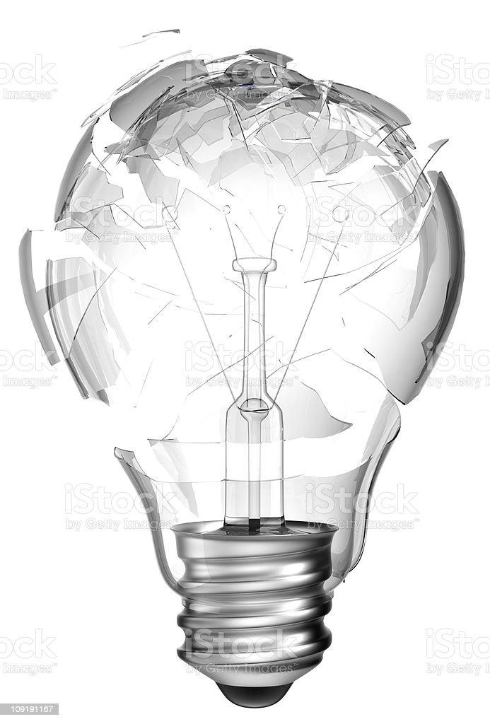 Making mistake. Smashed lightbulb isolated stock photo