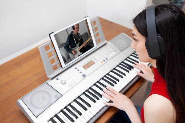 Making music using video conferencing stock photo