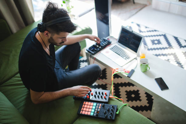 Making new music at home stock photo