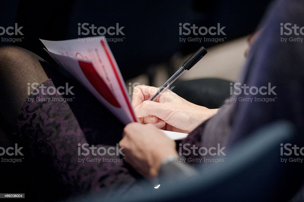 Making notes stock photo