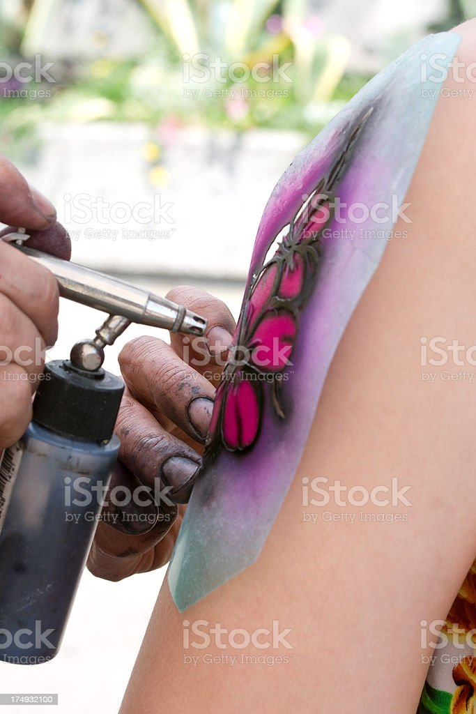 Making Of A Fake Tattoo Stock Photo - Download Image Now