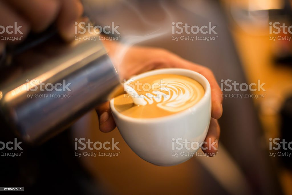 Making of cafe latte art stock photo