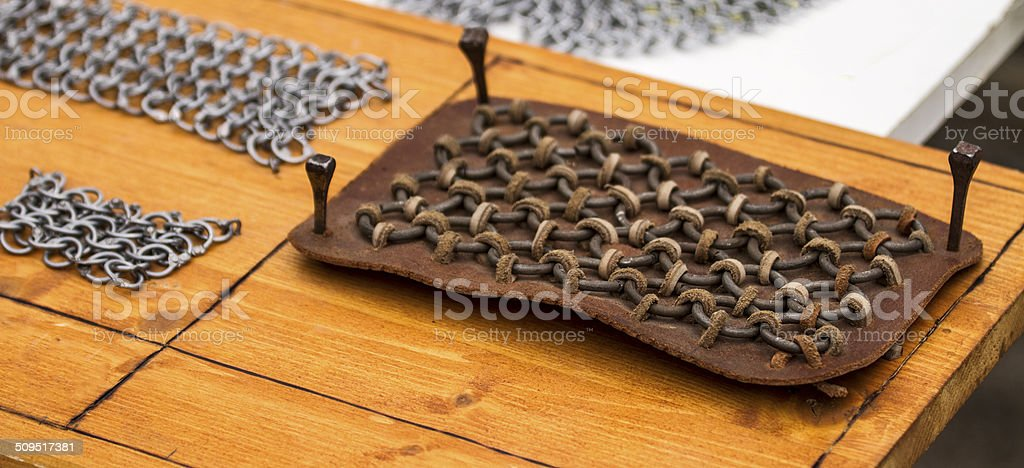 Making of chainmail stock photo