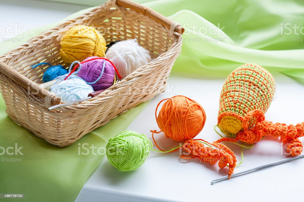 Making of handmade colorful crochet toys sweets stock photo
