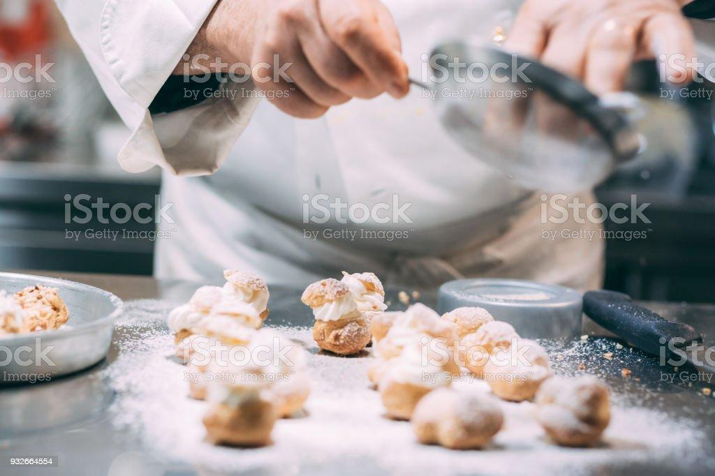 Making of italian pastries stock photo