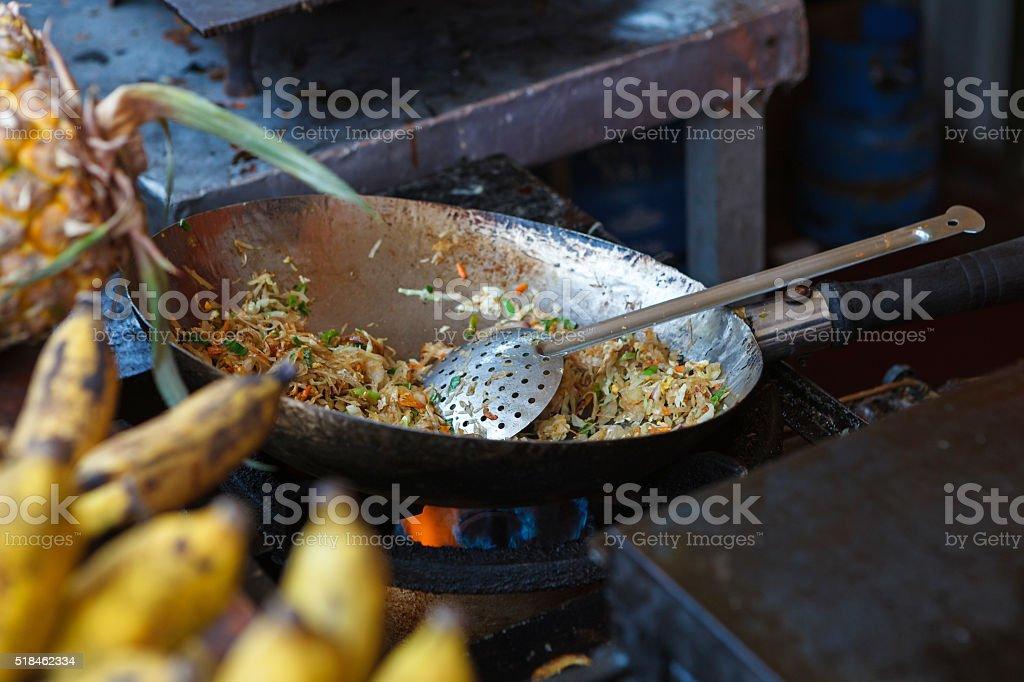 Making of kottu - Sri Lanka cuisine stock photo