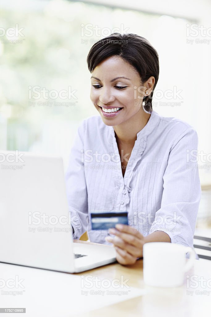 Making online purchases with enjoyment royalty-free stock photo
