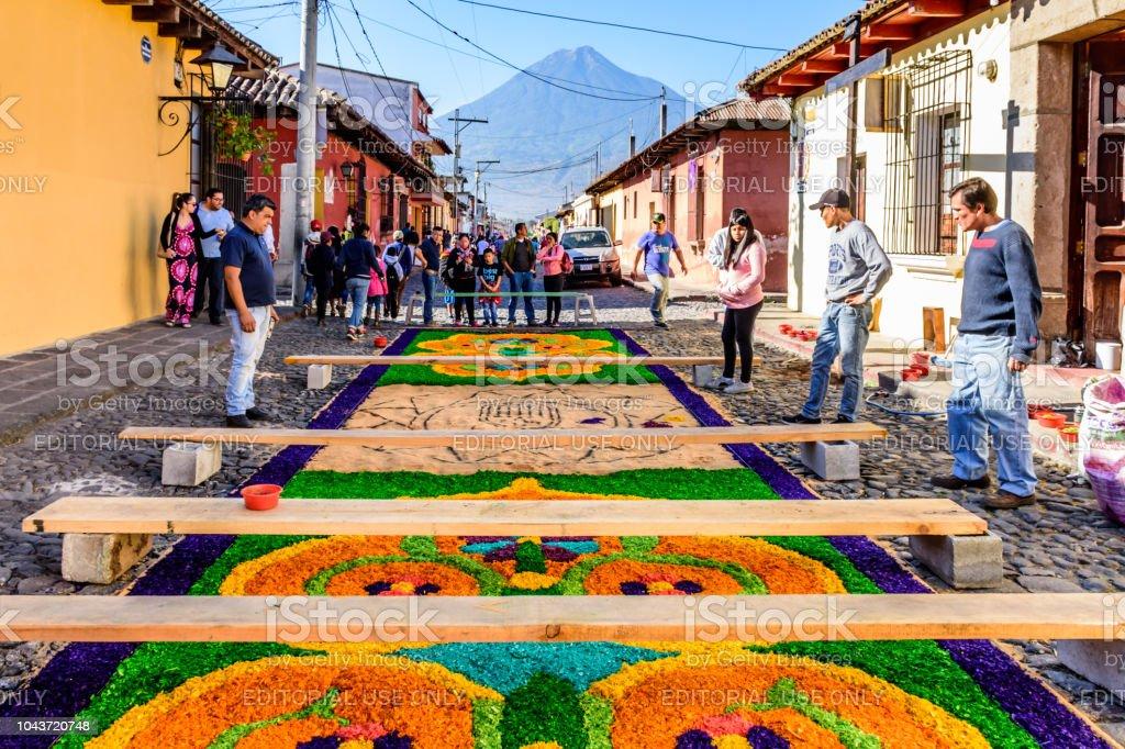 Making Palm Sunday procession carpet, Antigua, Guatemala stock photo
