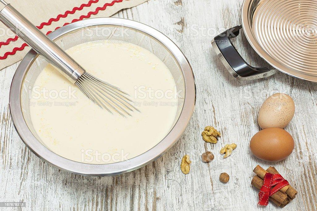 Making pancakes stock photo