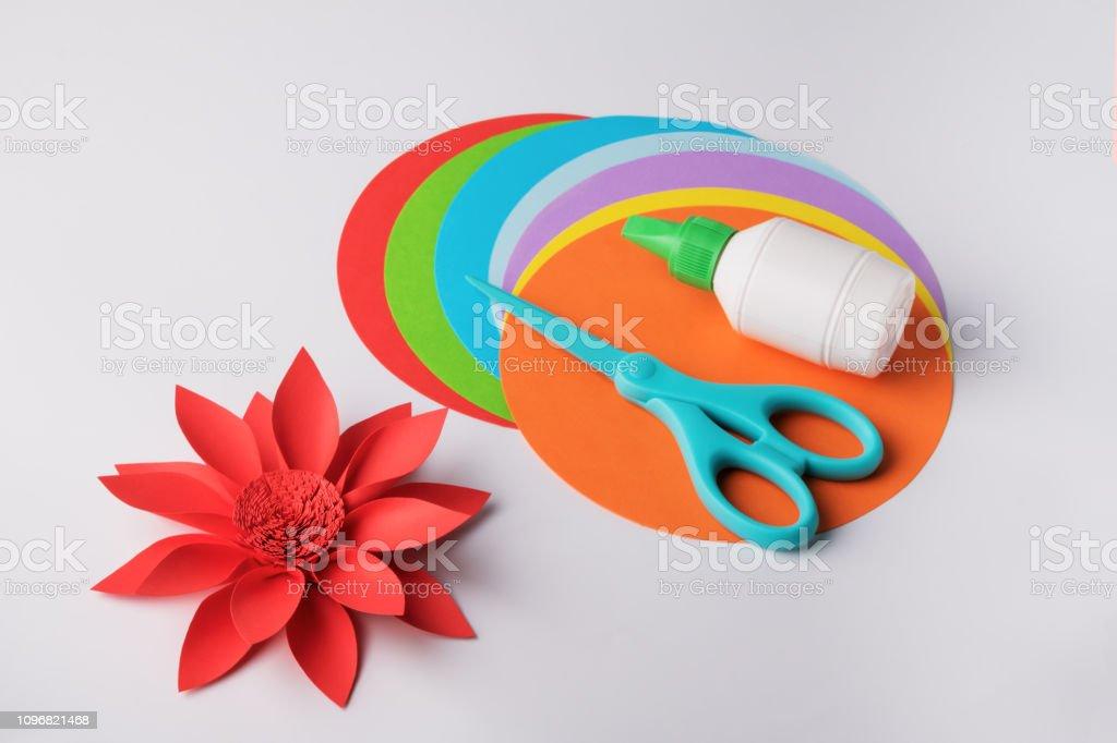 Making paper flower. Creative hobby stock photo