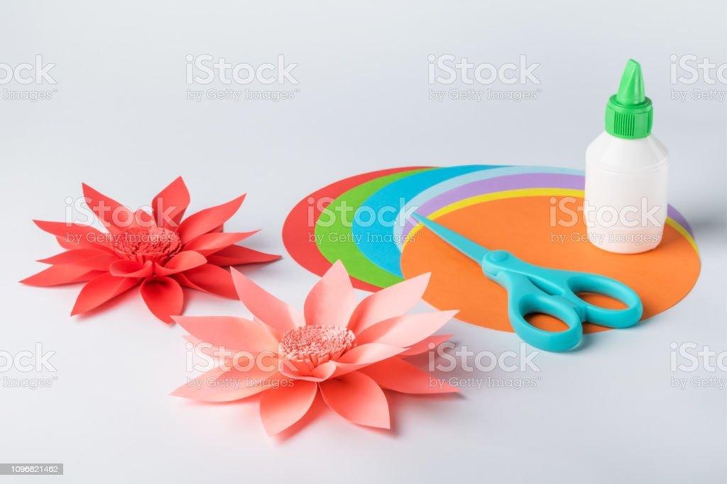 Making paper flowers. Creative hobby stock photo