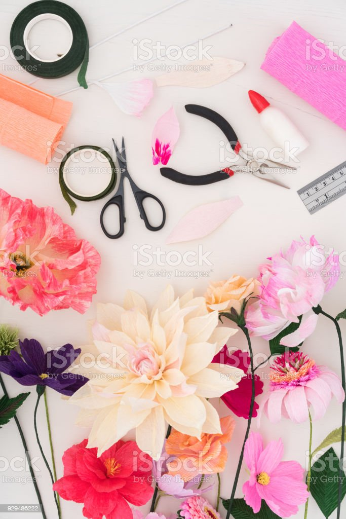 Making paper flowers stock photo more pictures of craft istock making paper flowers royalty free stock photo mightylinksfo